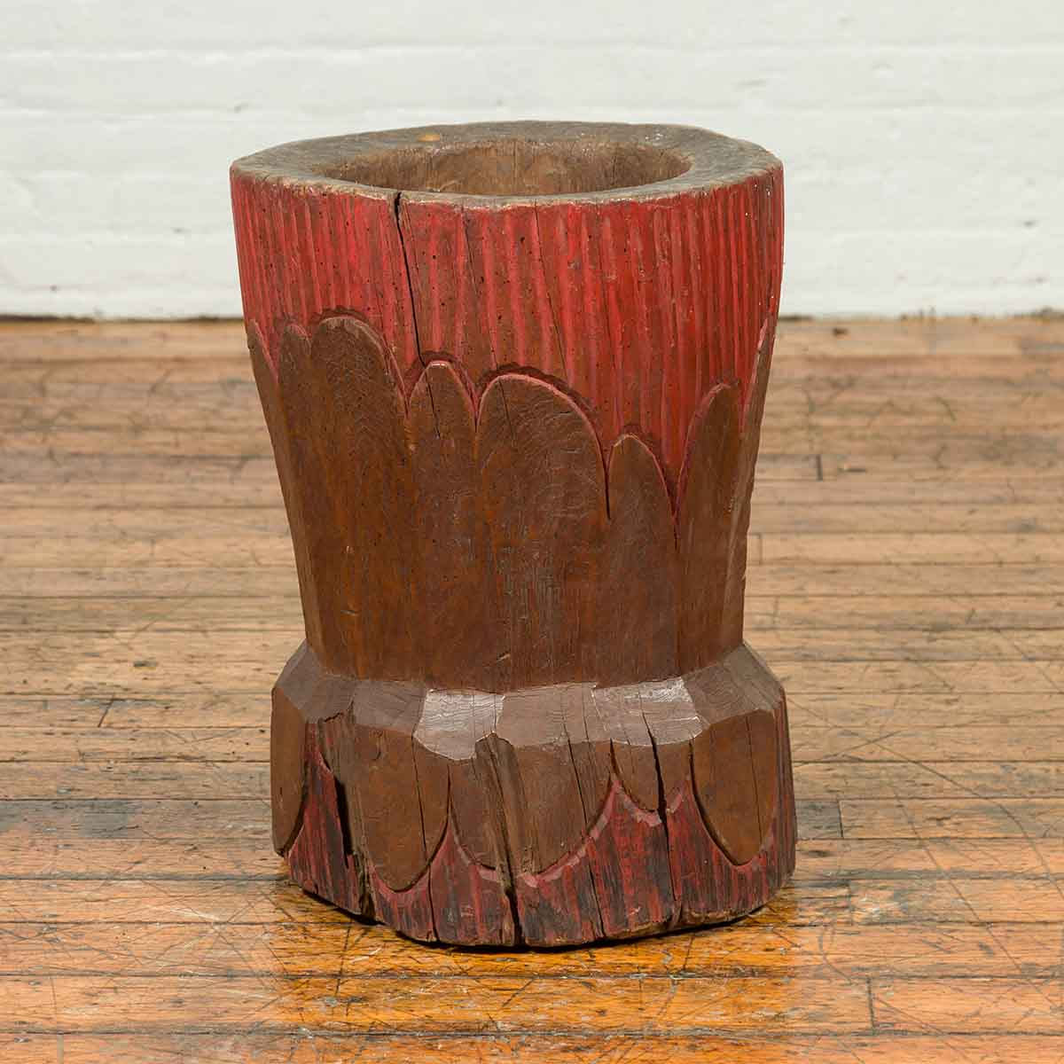 Antique Japanese Wooden Planter with Rustic Appearance and Red Patina