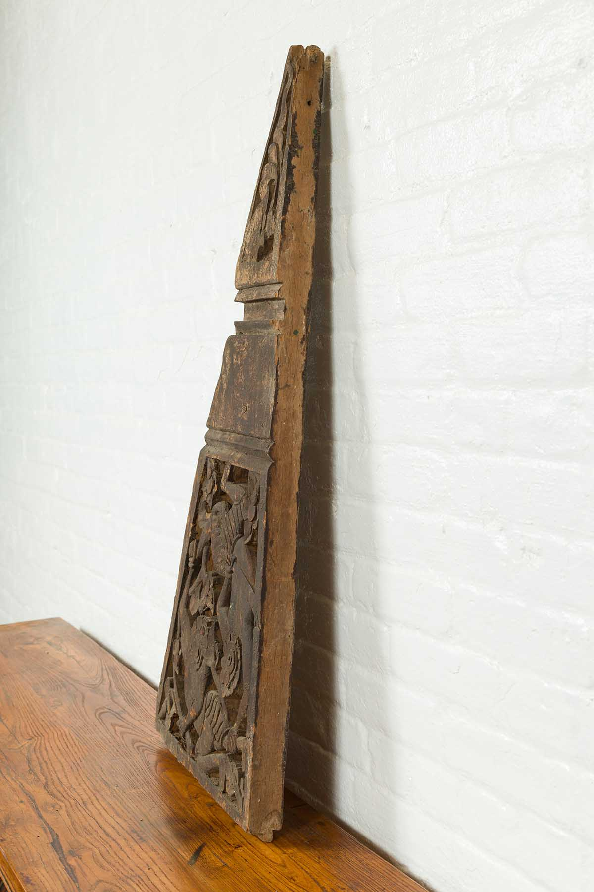 19th Century Indonesian Hand Carved Architectural Fragment with Mythical Figures