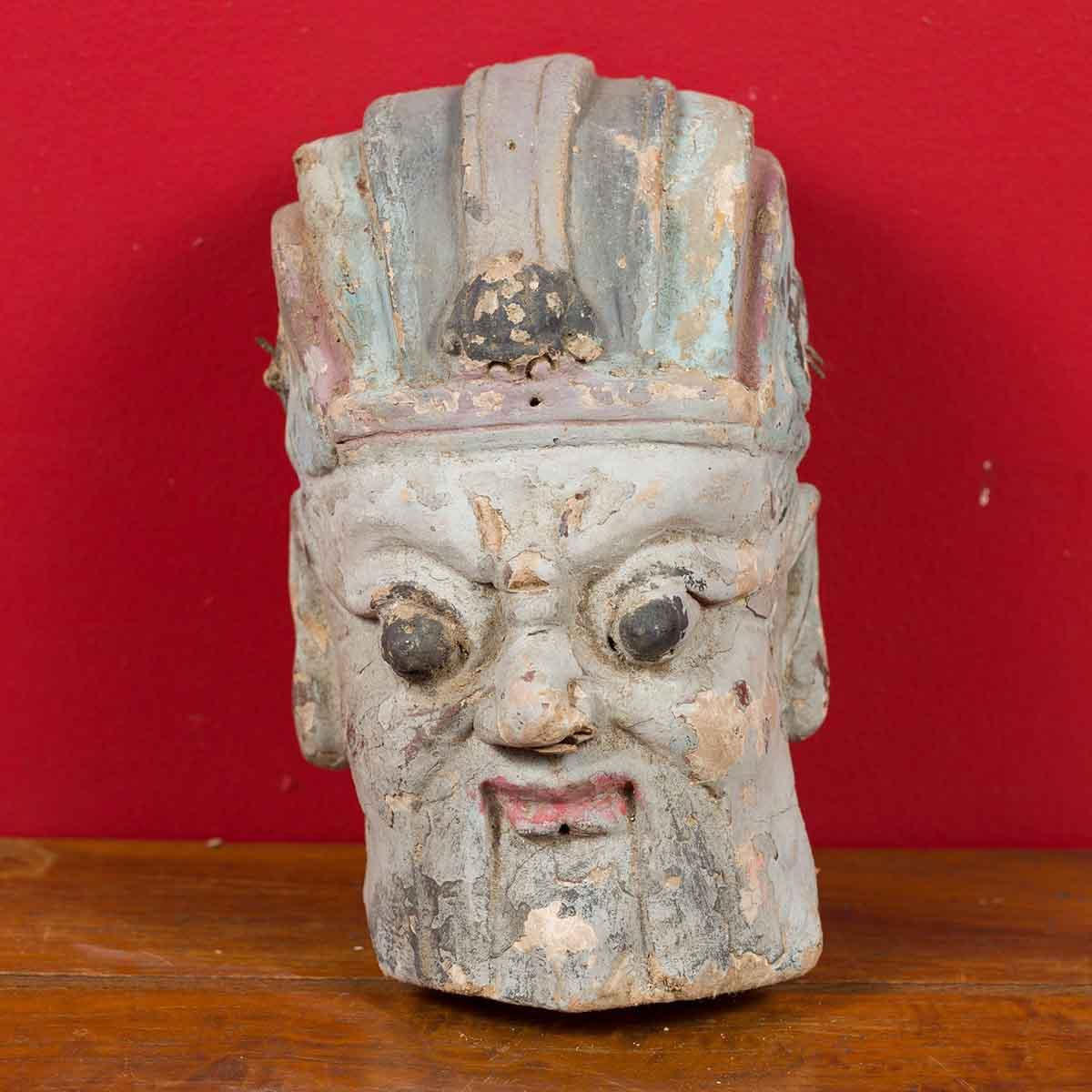 Antique Chinese Qing Dynasty Hand Painted Terracotta Head with Headdress