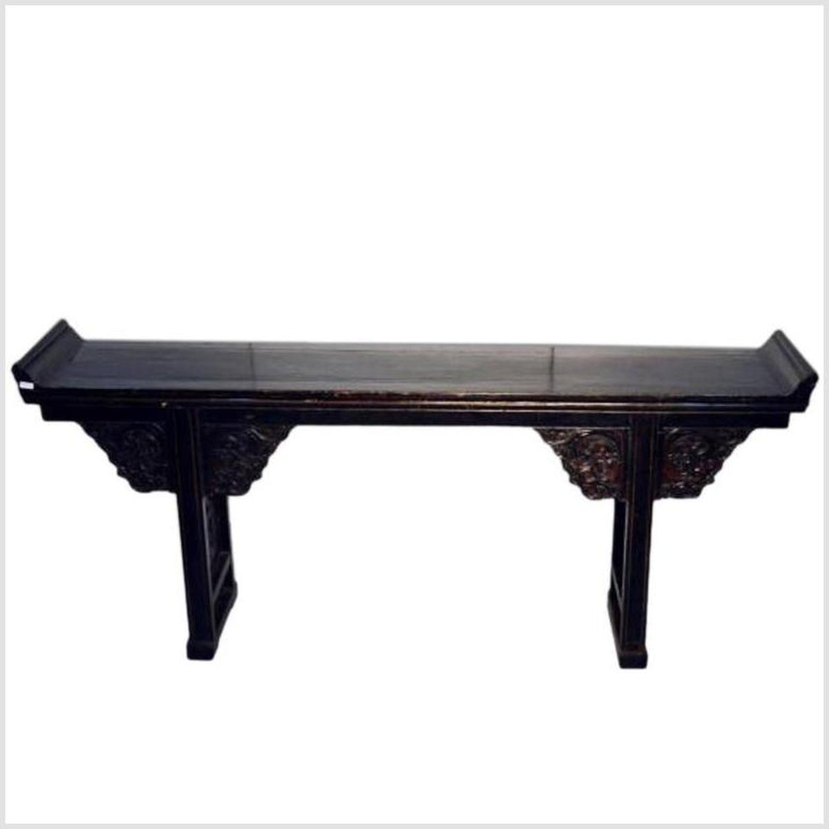 Antique Black Lacquer Console Table with Carved Details from China, circa 1800s