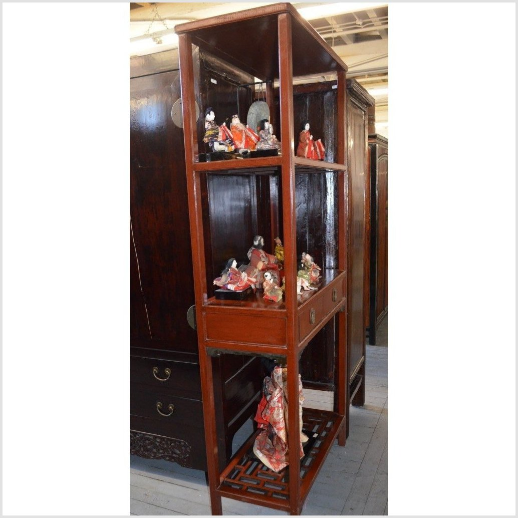 Antique Chinese Brown Lacquer Open Shelf Display Case