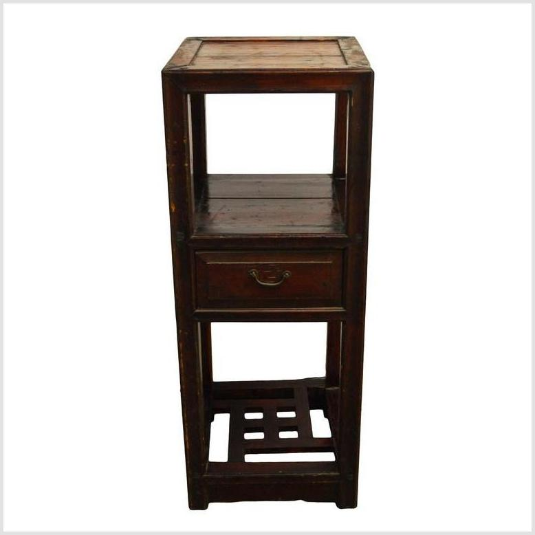 Antique Chinese Brown Lacquer Side Table