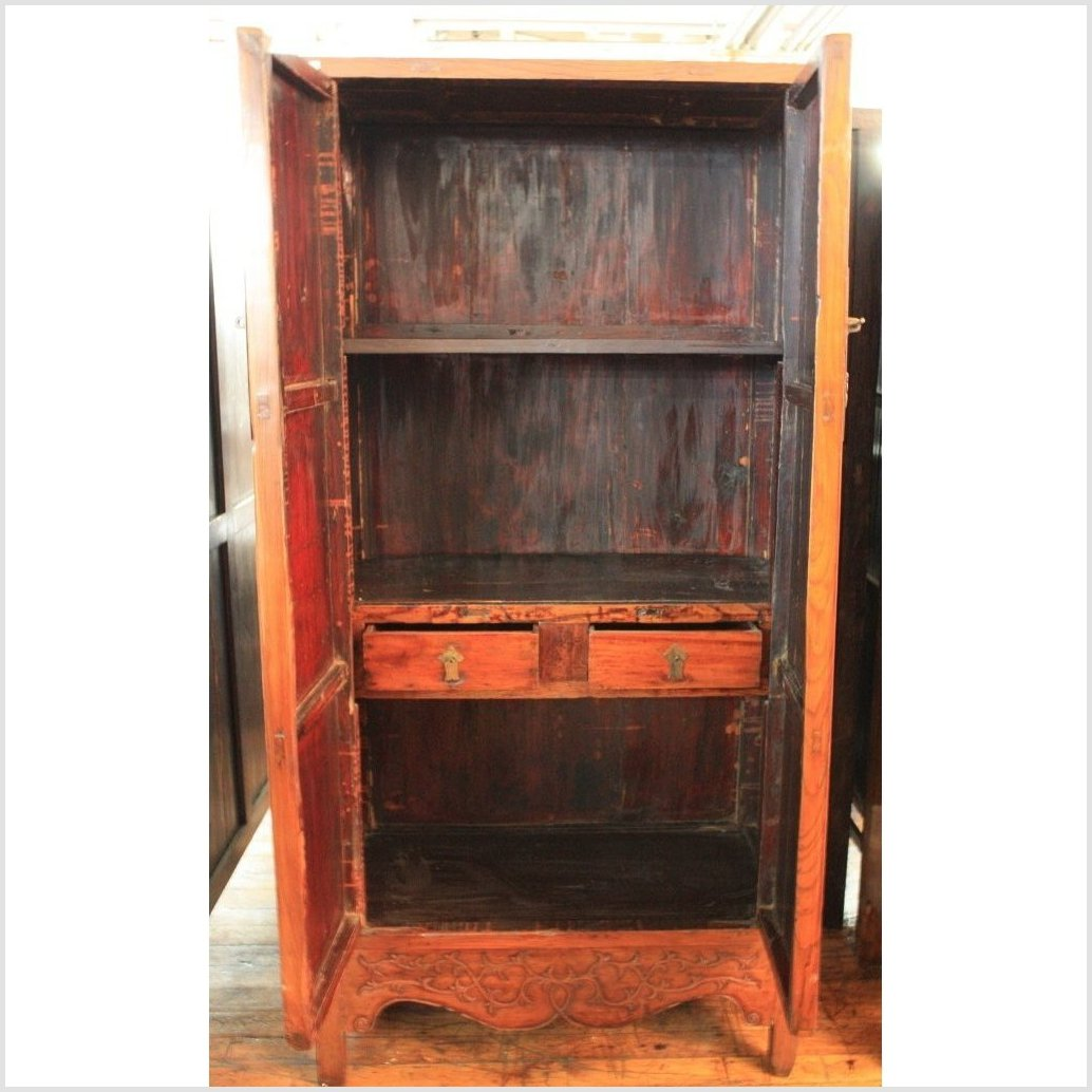 Antique Chinese Elmwood Cabinet With Carved Panel