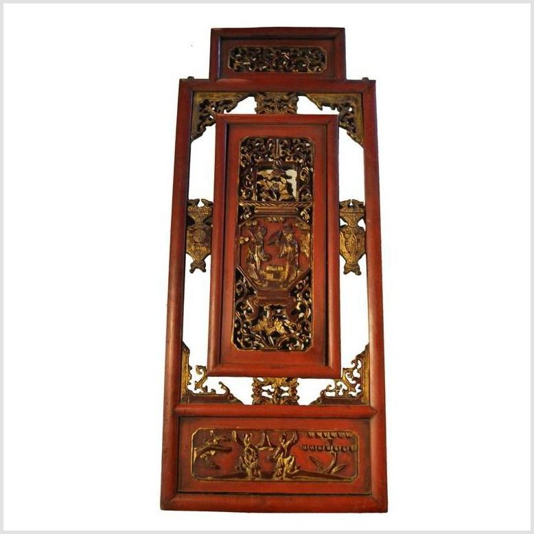Antique Chinese Hand Carved Temple Panel