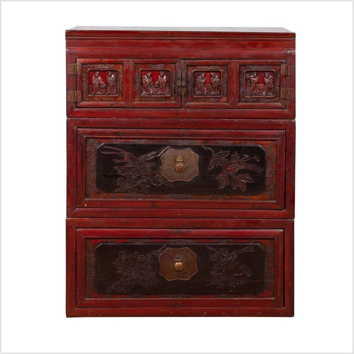 Antique Chinese Red and Black Lacquered Three-Section Chest with Carved Figures