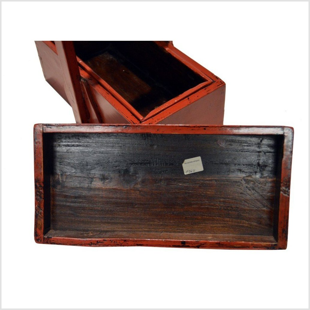 Antique Chinese Red Lacquer Wood Box