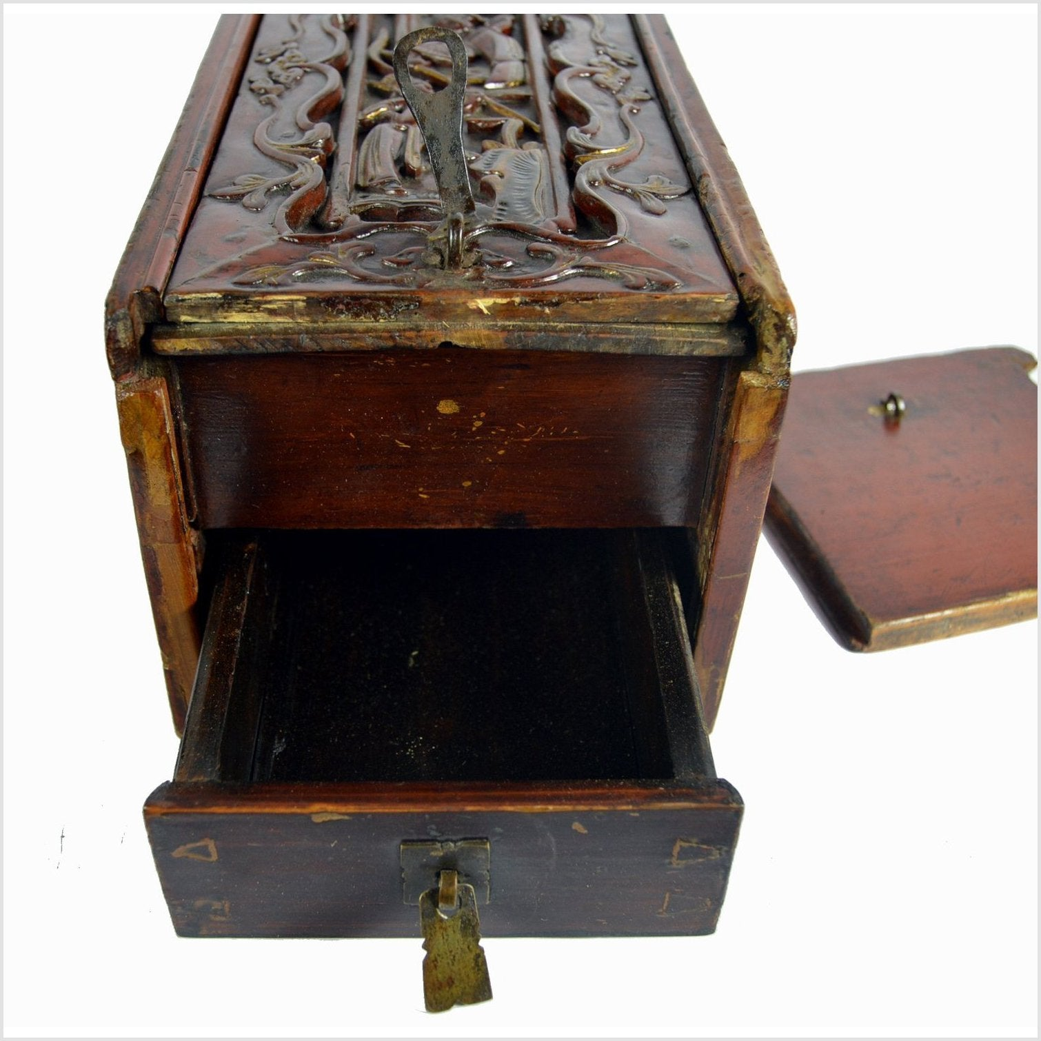 Antique Chinese Rosewood Ornate Safe