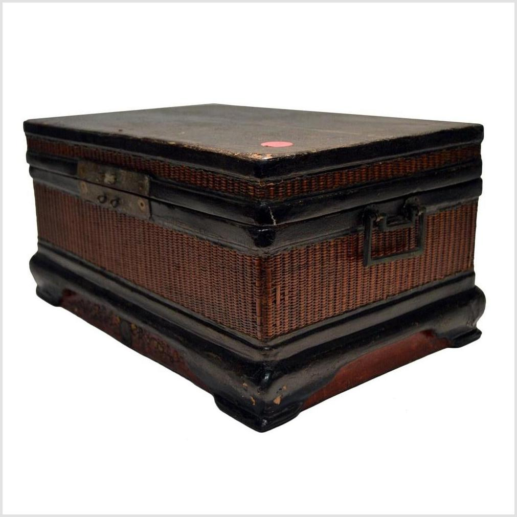 Antique Chinese Wood & Rattan Box