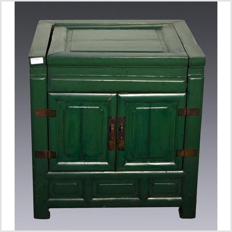 Antique Green Lacquer Bedside Cabinet