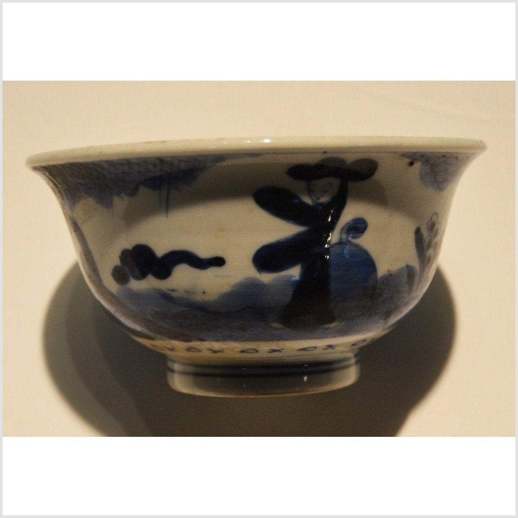 Antique Hand Painted Blue and White Bowl