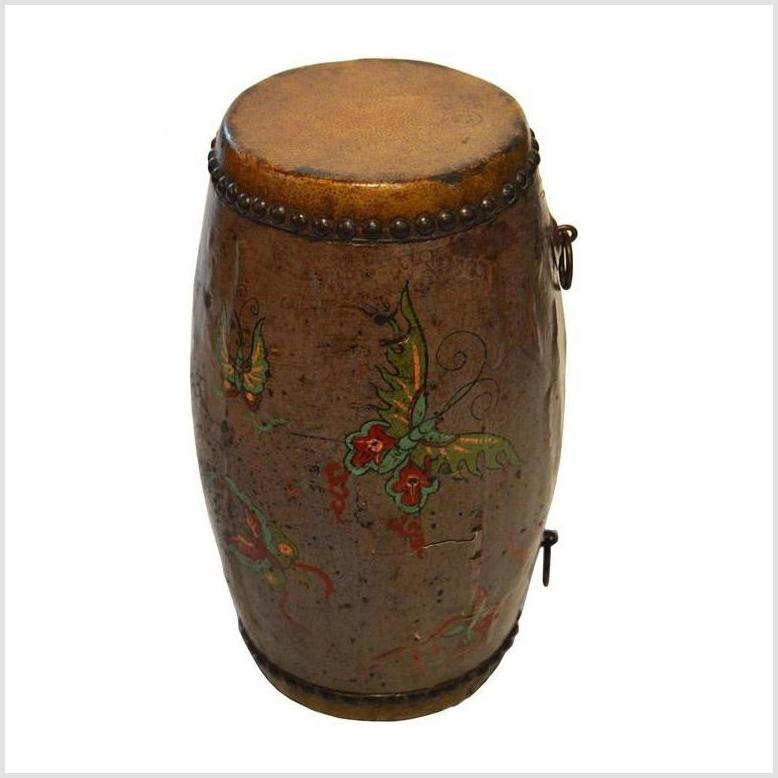 Antique Hand Painted Chinese Drum