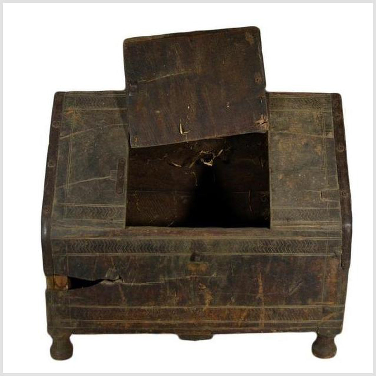 Antique Tibetan Dowry Chest 19th Century Carved Wood Himachal Pradish Ethnic Trunk Sideboard Indian Chest Primitive Tribal Chest