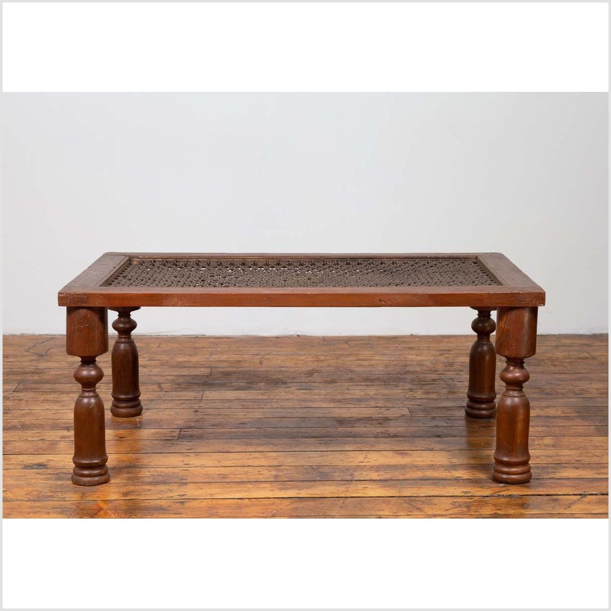 Antique Indian Wooden Coffee Table with Window Grate and Turned Baluster Legs