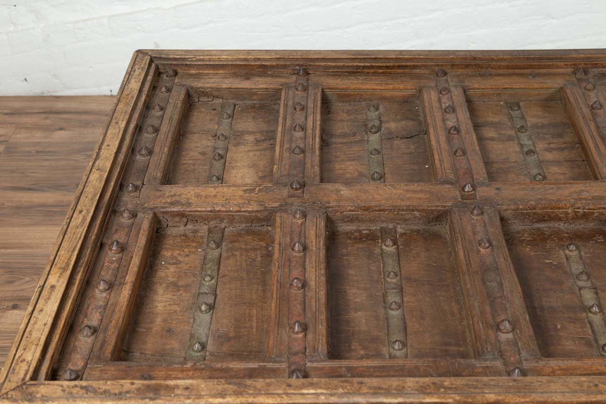 Antique Indian Wooden Palace Door Made into a Coffee Table with Iron Braces