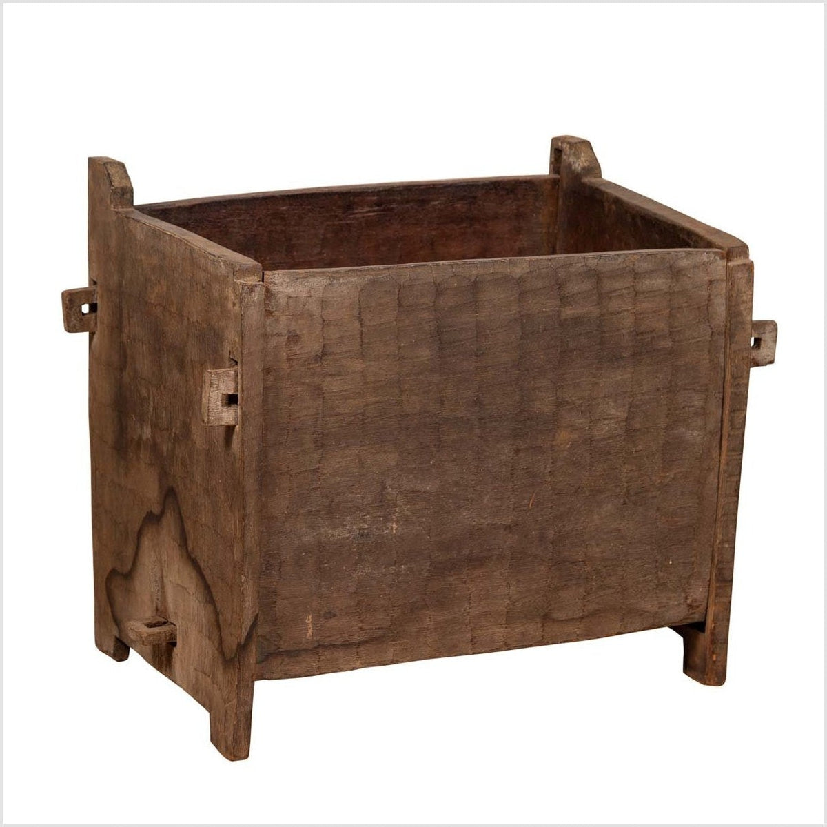 Antique Indian Wooden Planter Box with Weathered Patina and Protruding Accents