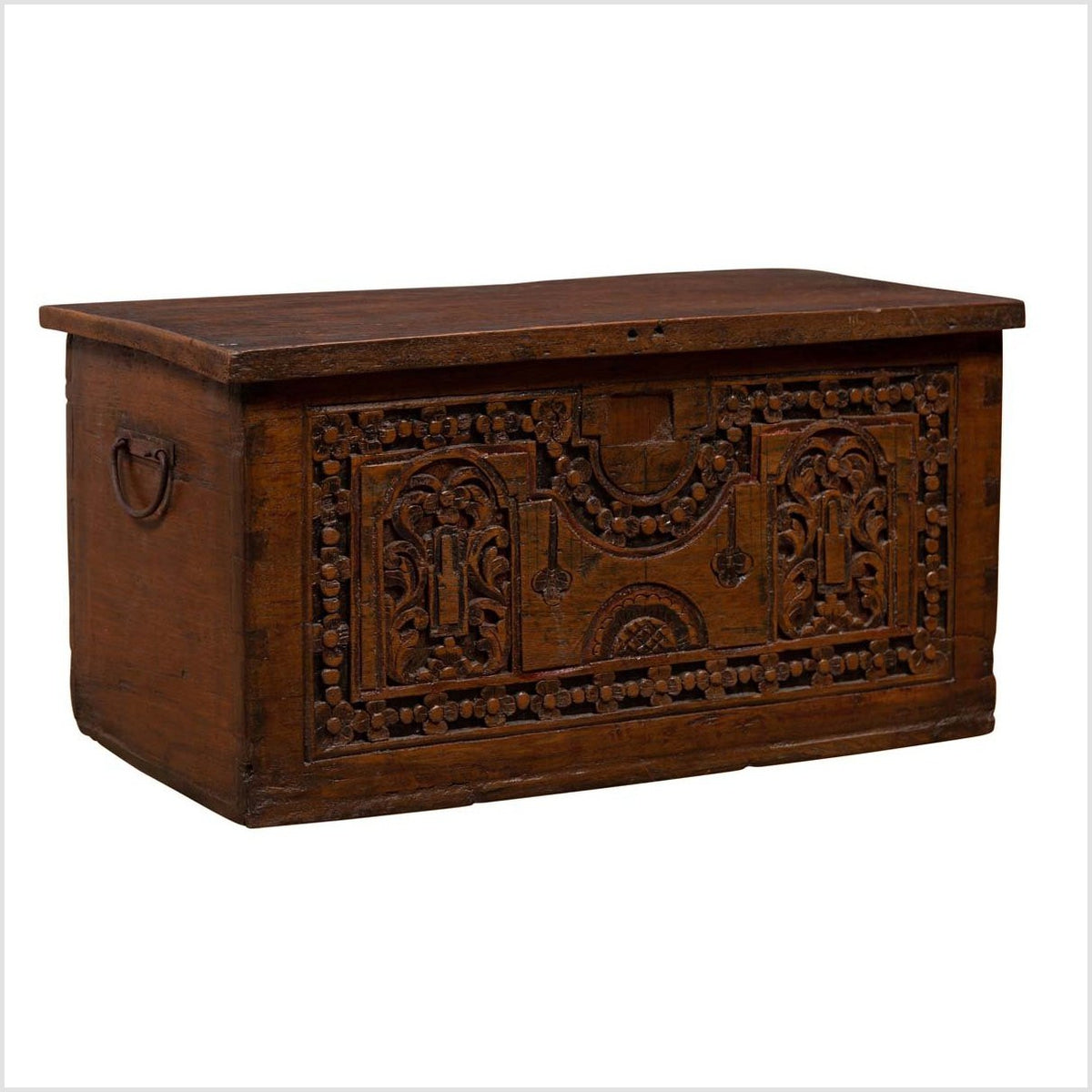 Antique Indonesian Decorative Wooden Box with Carved Flowers and Architecture