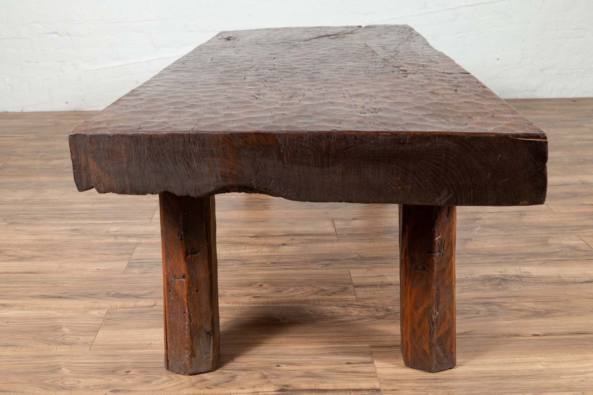 Antique Indonesian Rustic Coffee Table Made from a Tree with Honeycomb Design