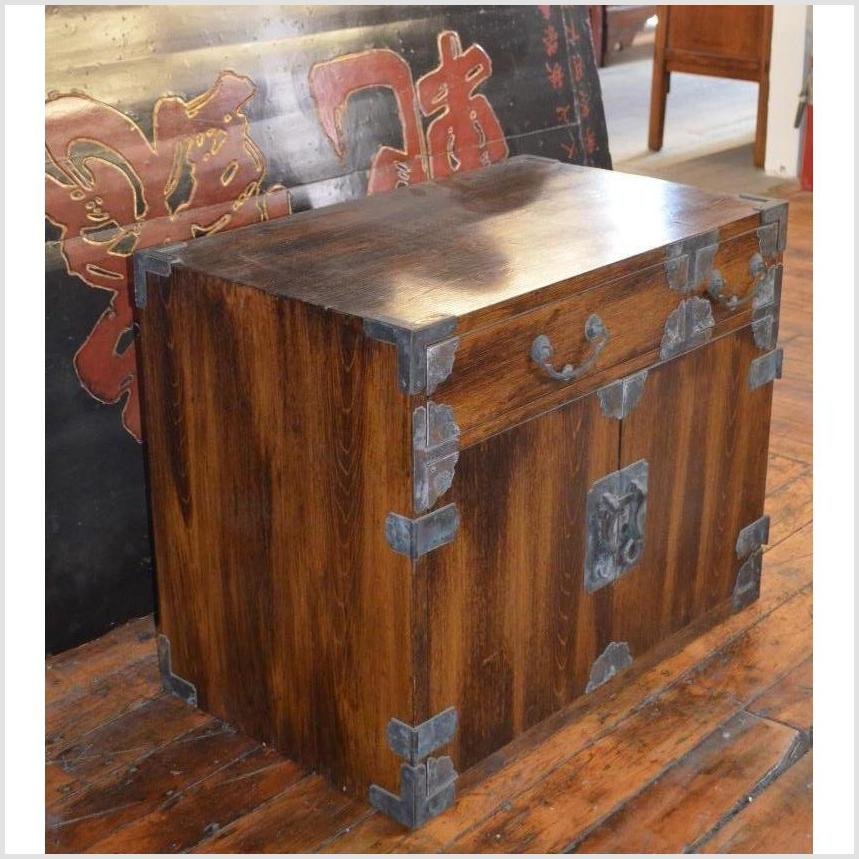 Antique Korean Brown Lacquer Small Chest/Cabinet