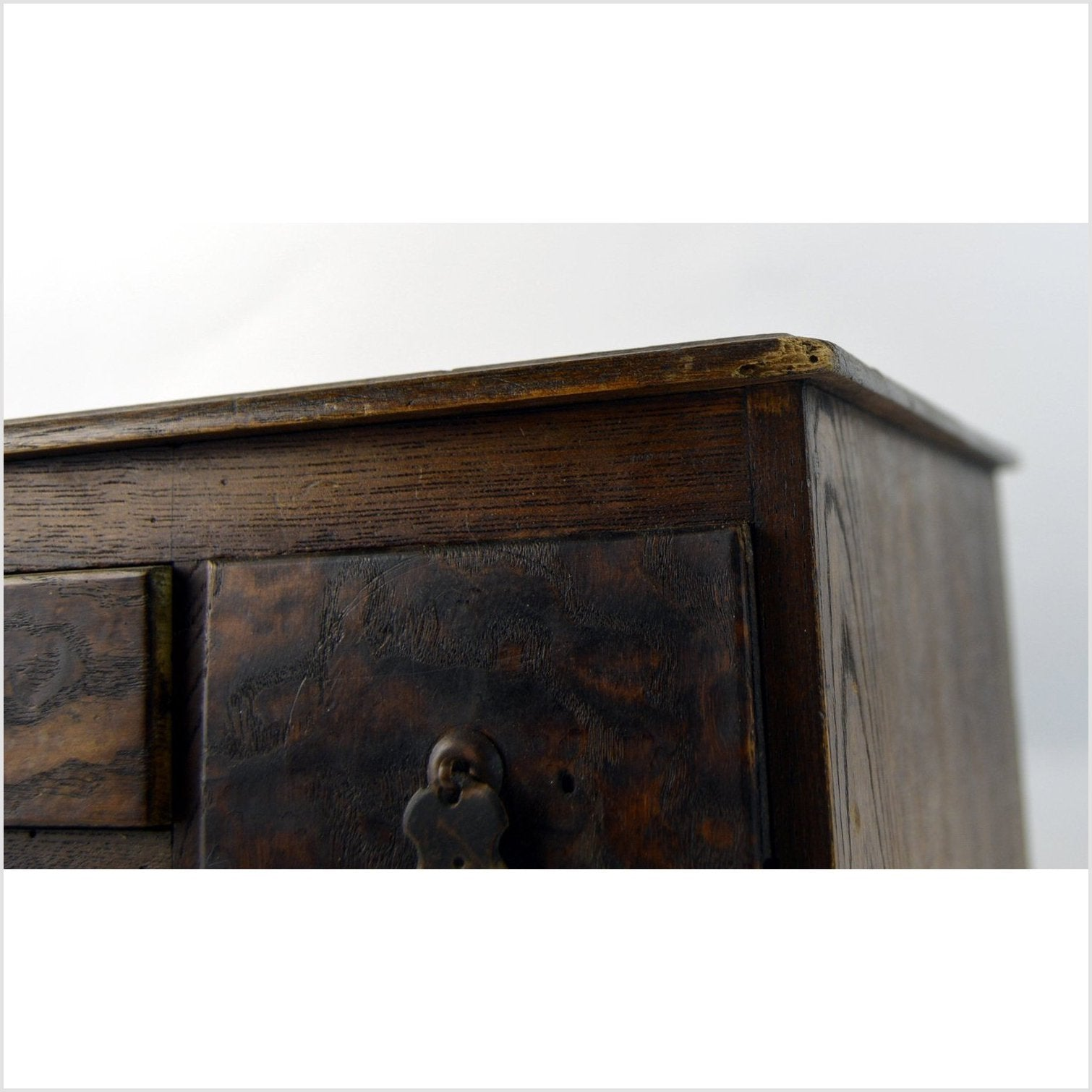 Antique Meiji Kyacki Japanese Wooden Cabinet Box