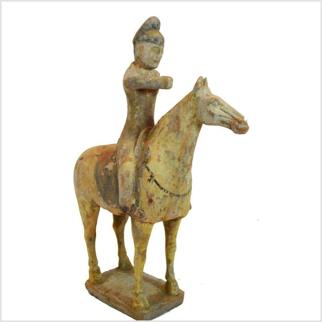 ANTIQUE TERRACOTTA HORSE AND RIDER