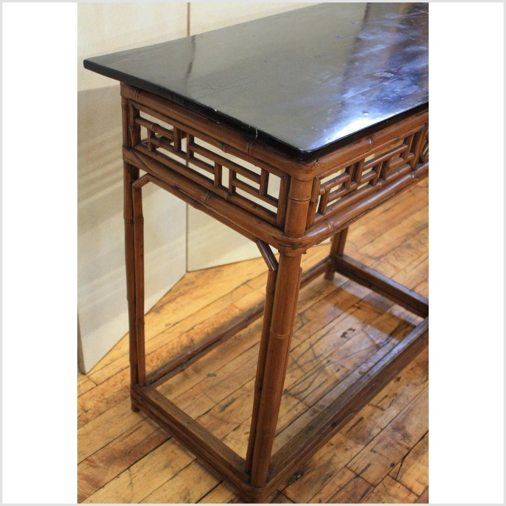Bamboo & Black Lacquer Console Table
