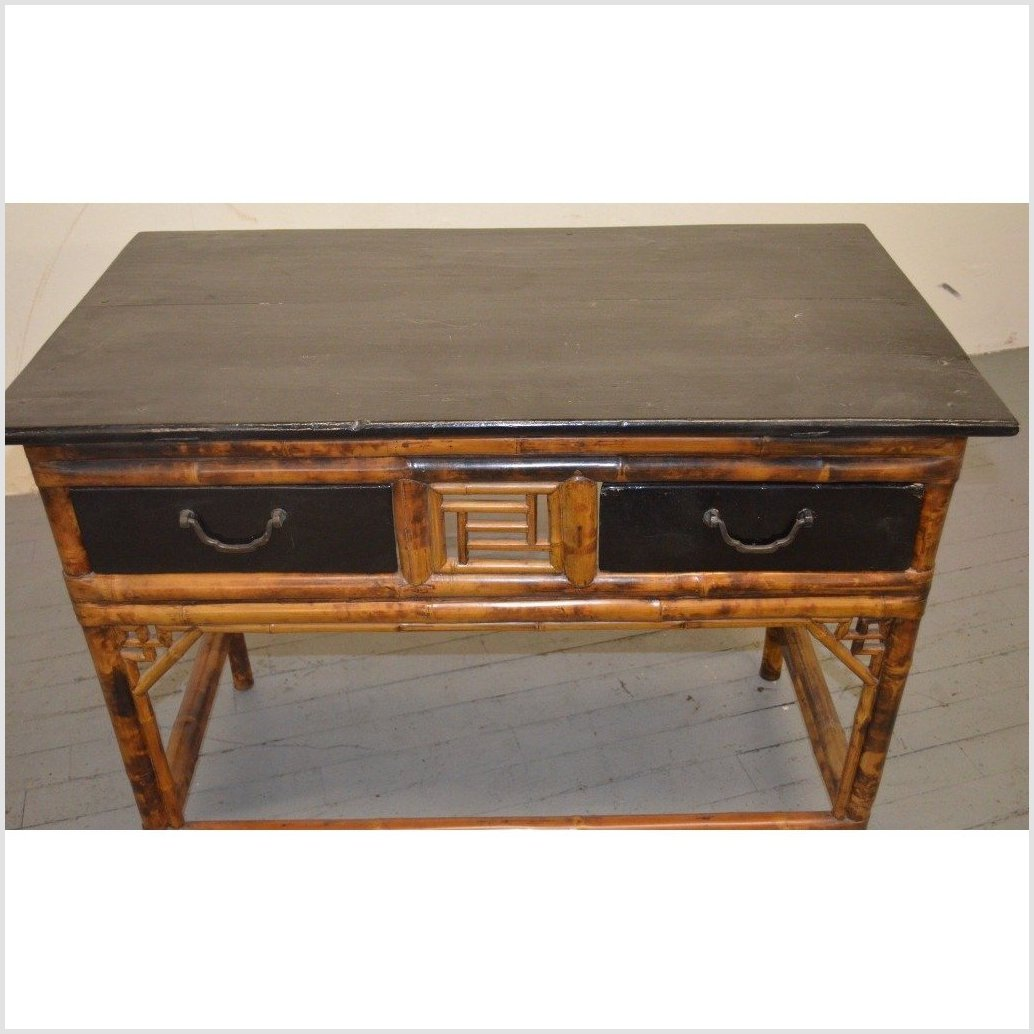 Bamboo & Black Lacquered Desk/Console