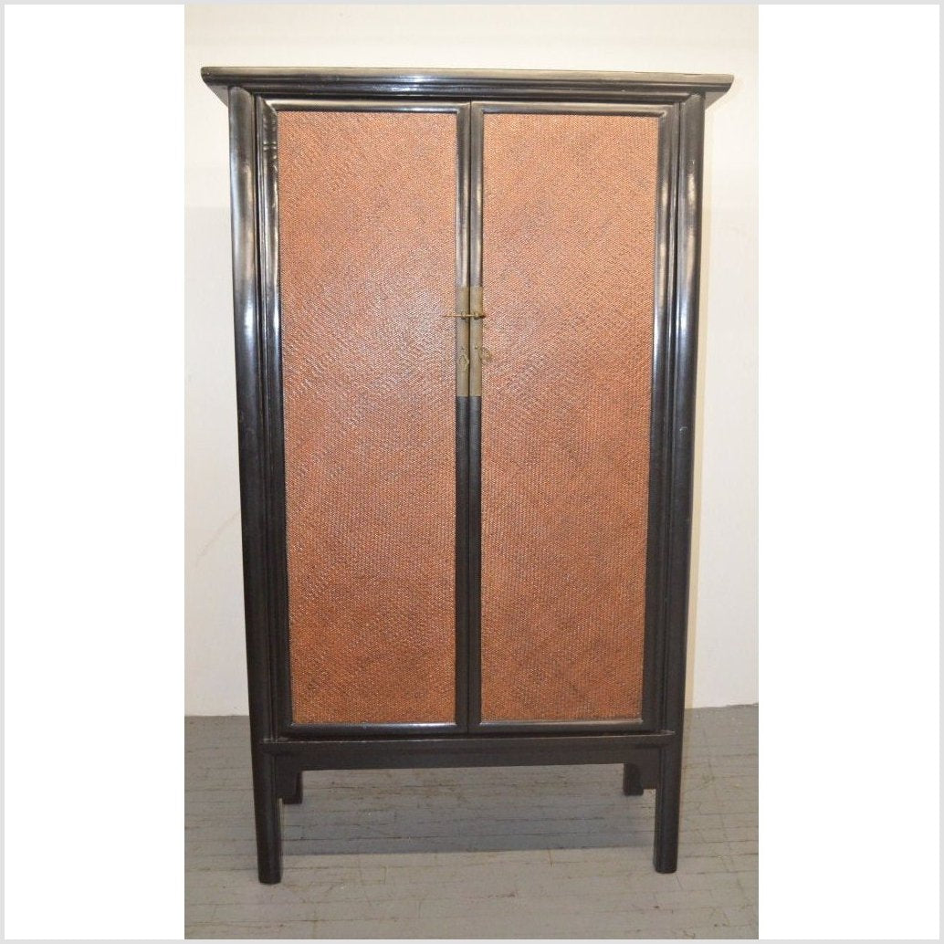 Black Lacquer Cabinet with Woven Rattan