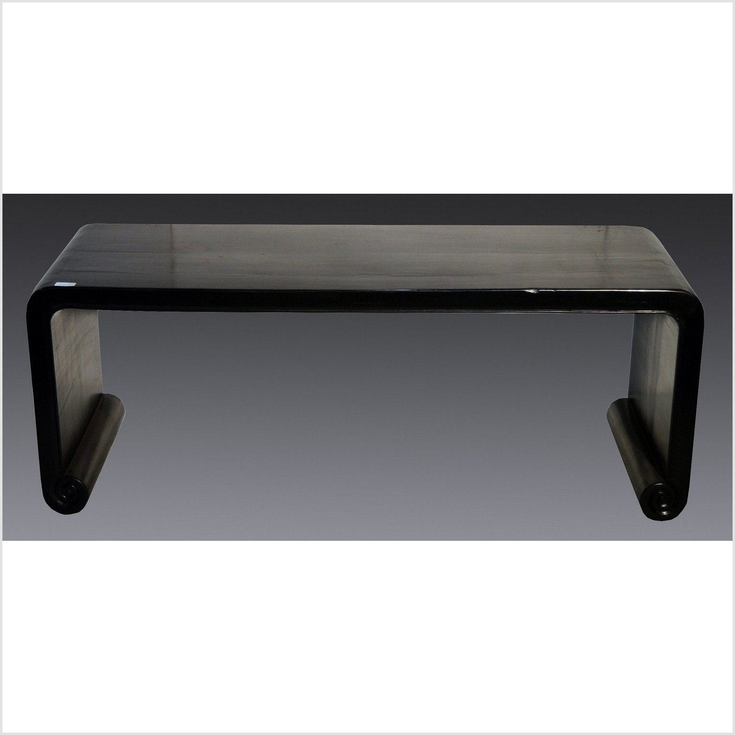 Black Lacquer Scroll Leg Coffee Table
