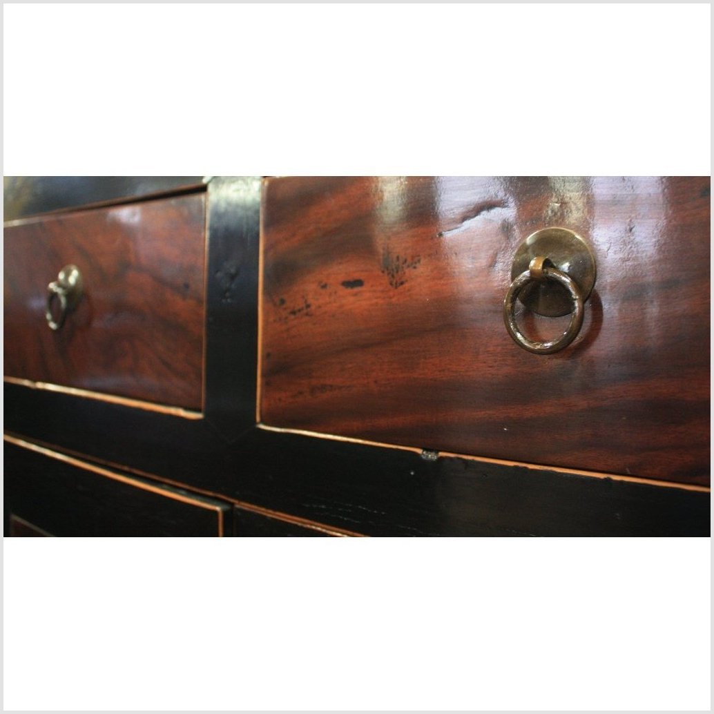 Black & Natural Color Cabinet with Burl Wood Doors