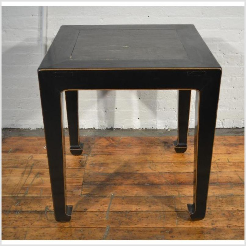 Black Side Table with Inset Floor Tile