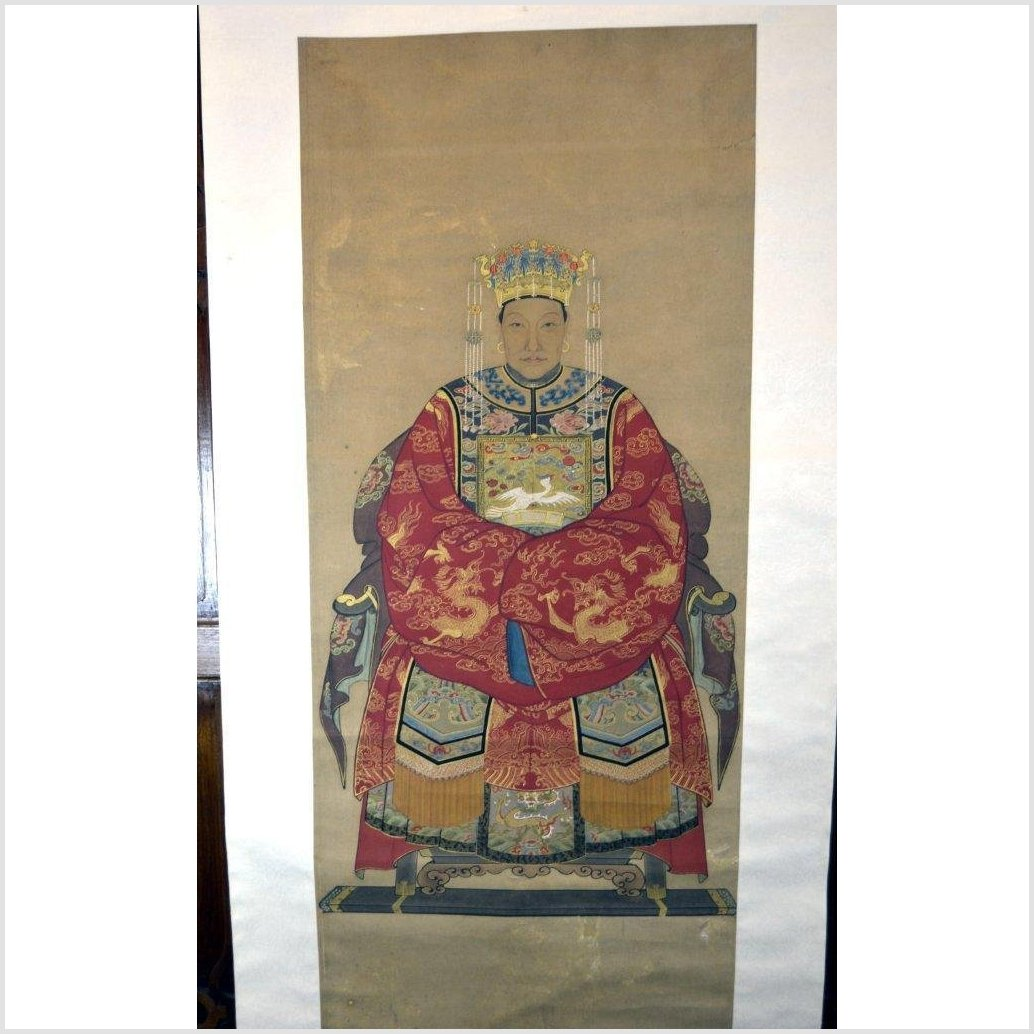 Chinese Ancestor Painting on Linen Canvas