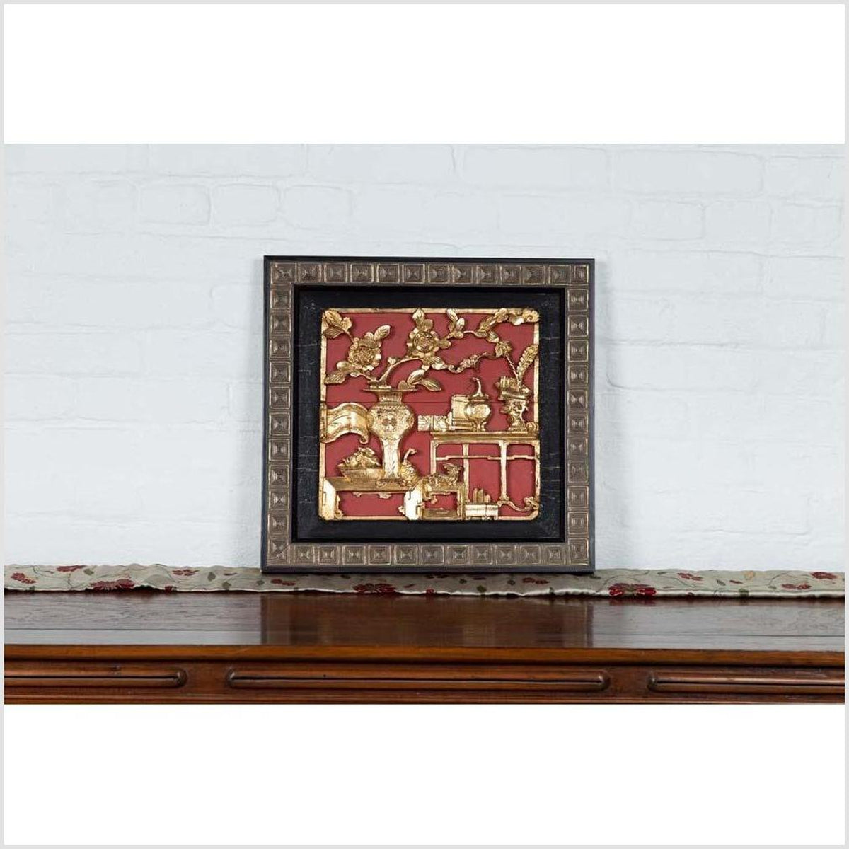Chinese Antique Giltwood and Red Painted Floral Architectural Panel in New Frame