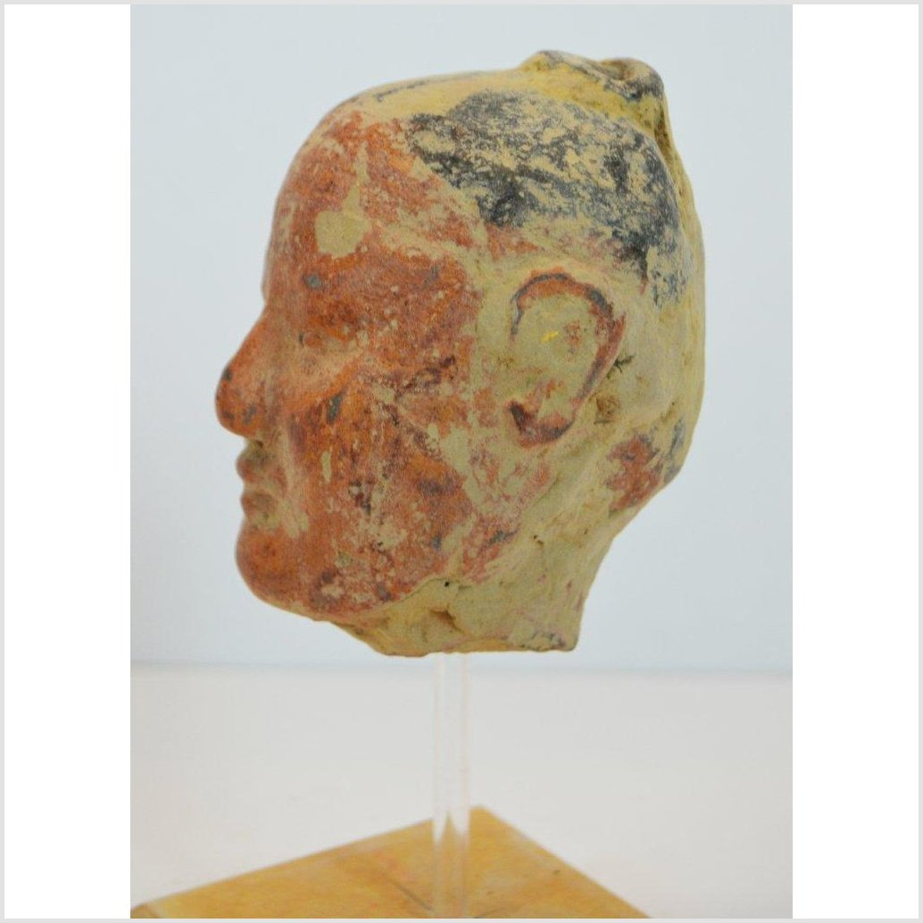 CHINESE HAN DYNASTY WARRIOR HEAD ON BASE