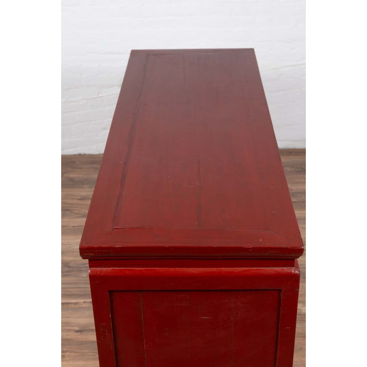 Chinese Ming Dynasty Style Red Lacquered Console Cabinet with Doors and Drawers