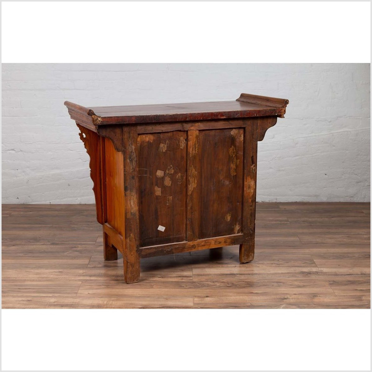 Chinese Ming Style Elm Altar Cabinet with Carved Sides, Drawers and Doors