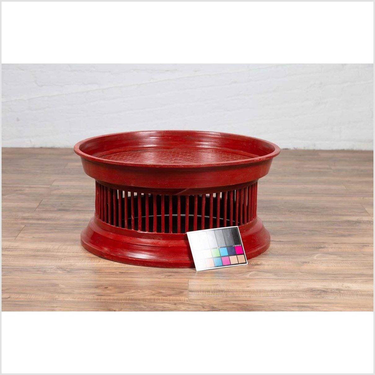 Contemporary Thai Red Lacquered Rattan Drum Coffee Table with Spindle Motifs