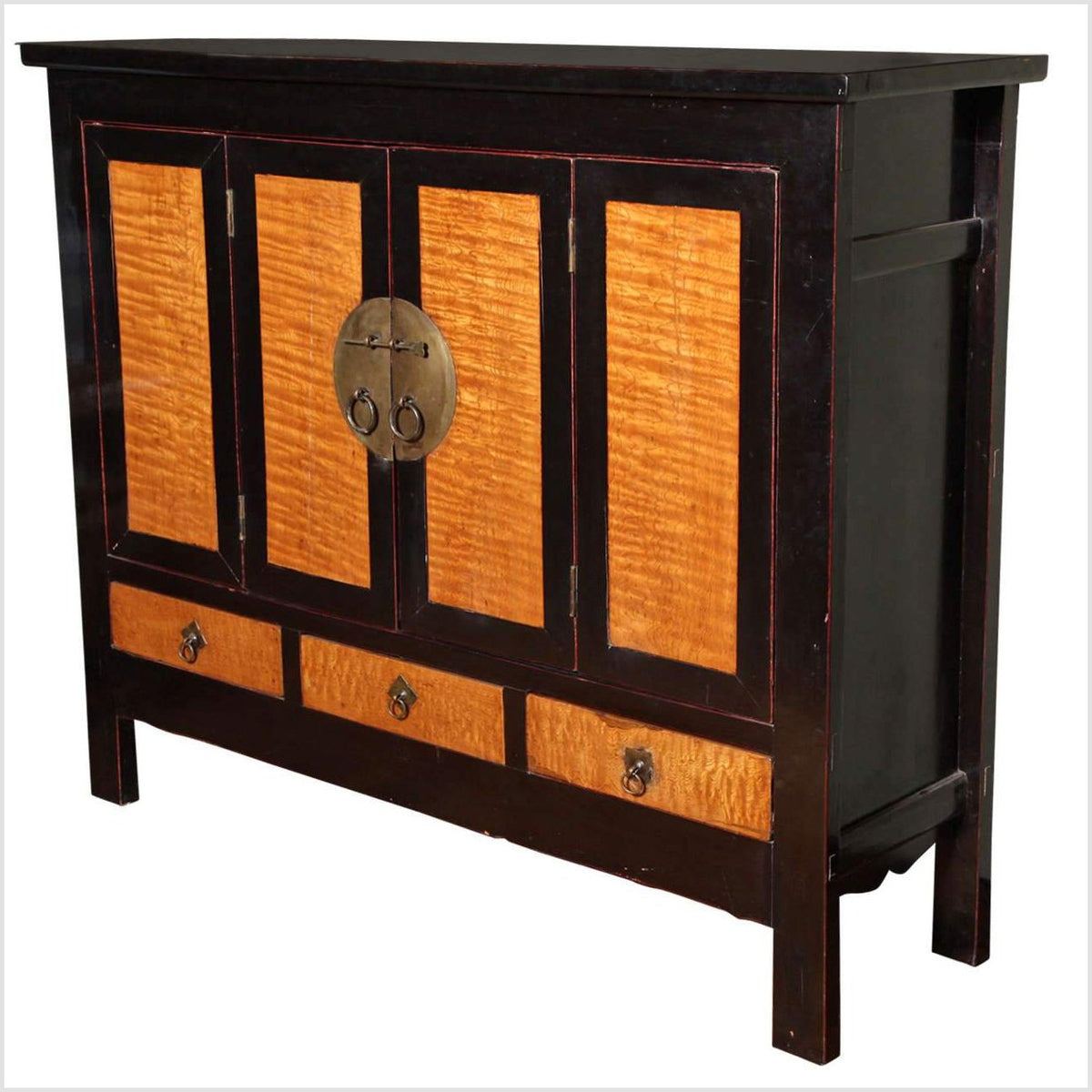 Dynasty Black Lacquer and Burl Wood Cabinet with Accordion Doors