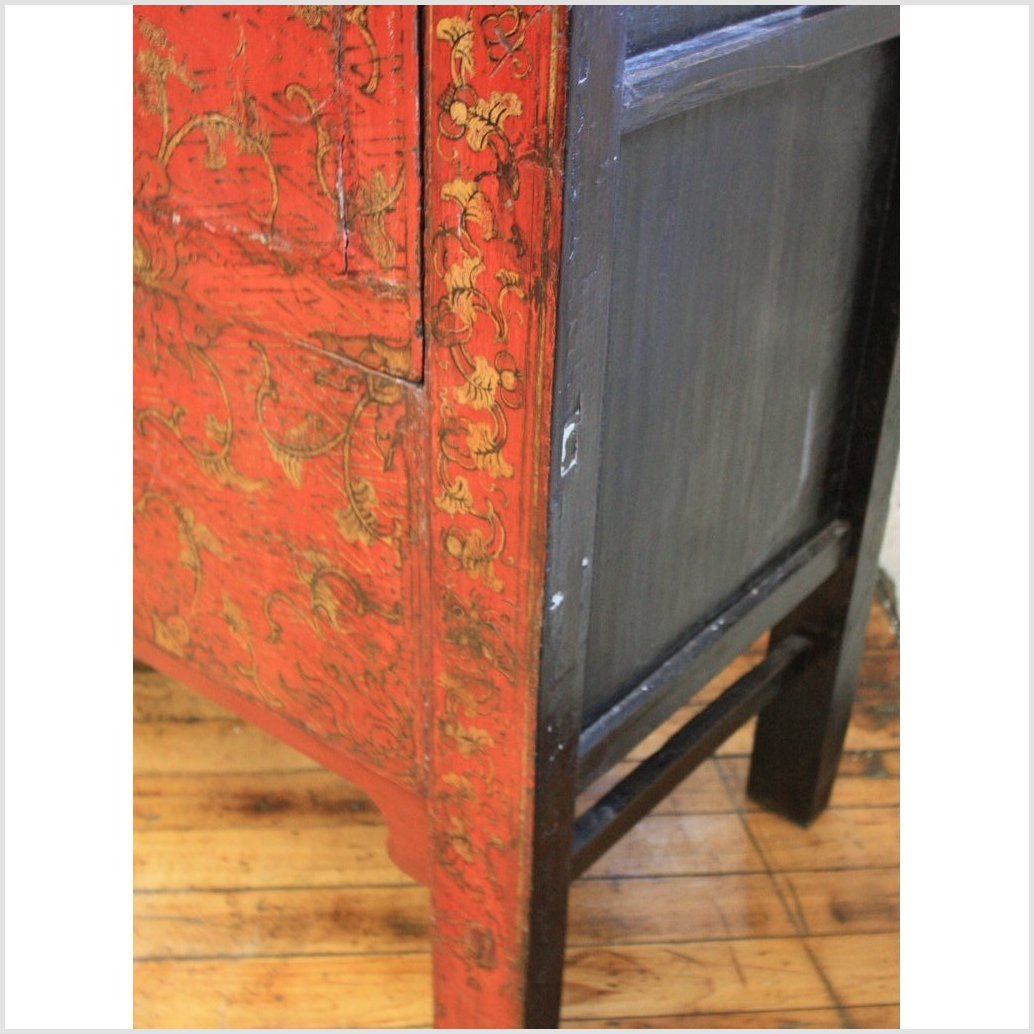 Gilt Decorated Red Lacquer Cabinet