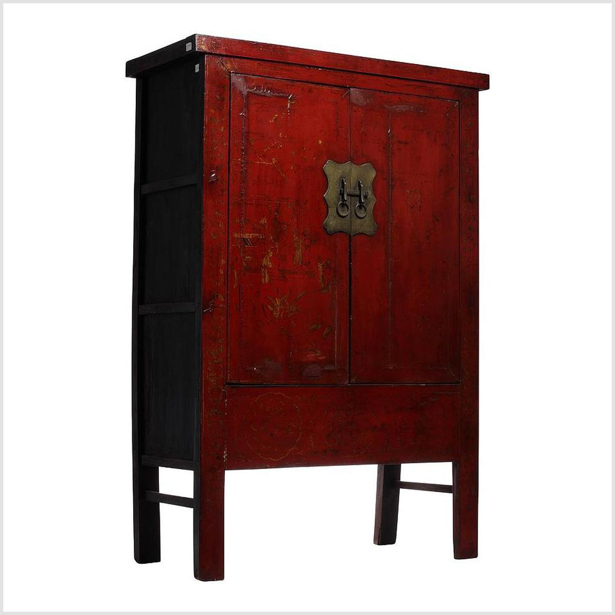 Red Chinoiserie Chinese Armoire