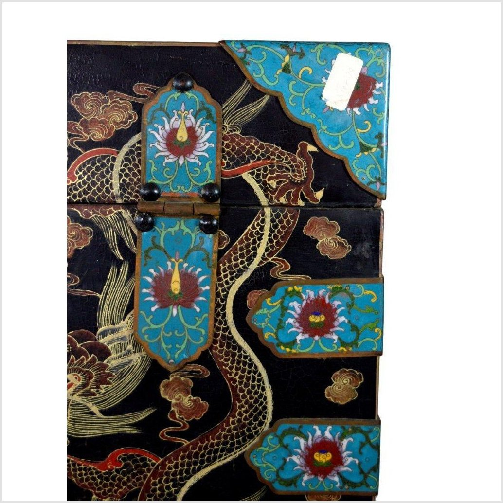 Large Cloisonne Hand Painted Dowry Box