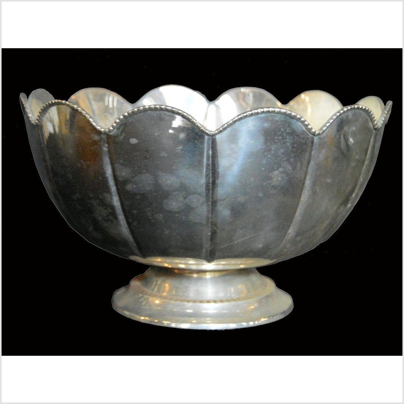 HAND TOOLED SILVER PLATED BOWL