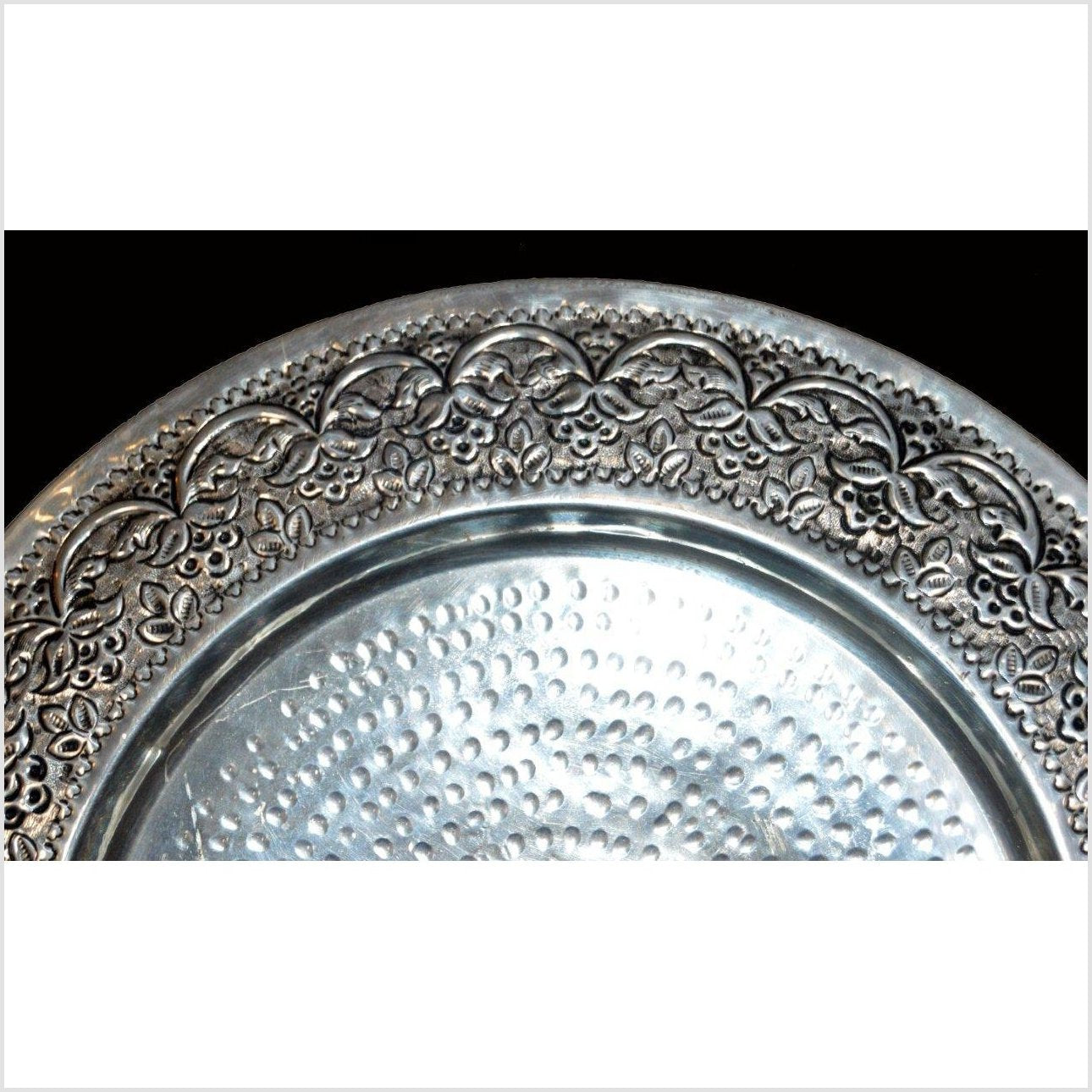 HAND TOOLED SILVER PLATED ORNATE CHARGER