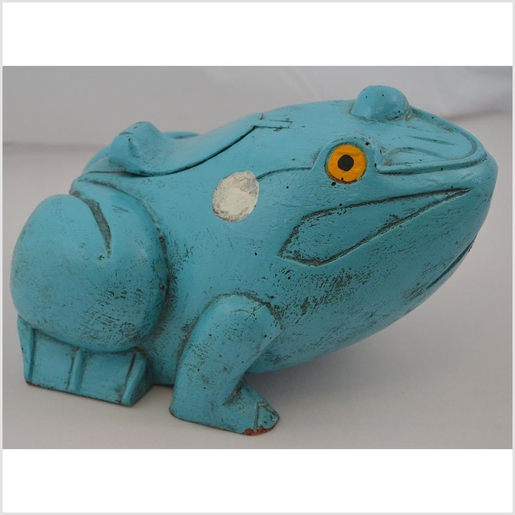 Hard Carved Wood Frog Box