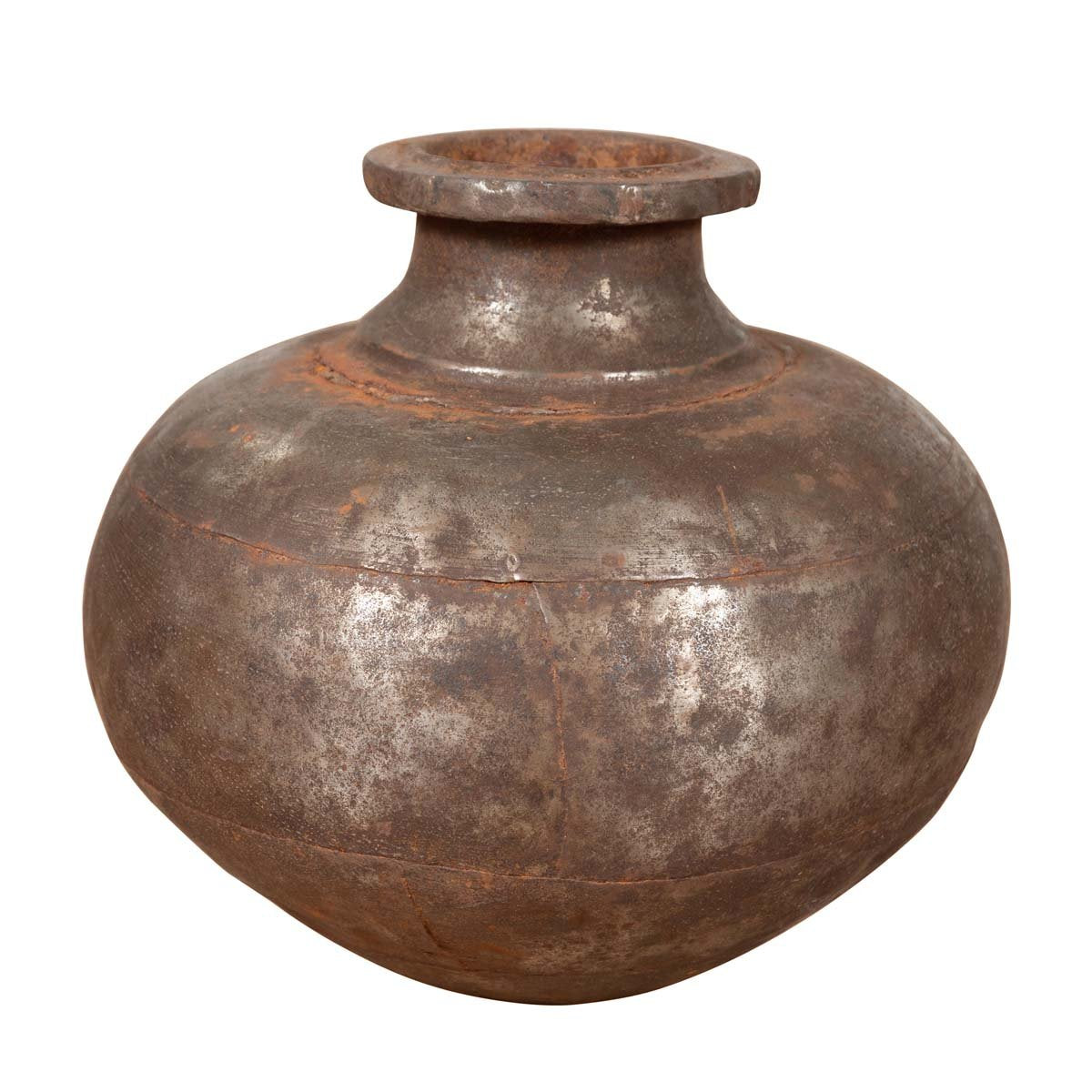 Indian 19th Century Metal Water Jug with Generous Belly and Protruding Lip