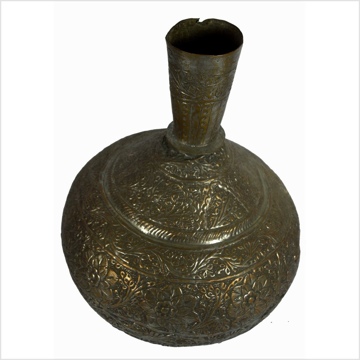 Indian Hand Tooled Brass Decanter