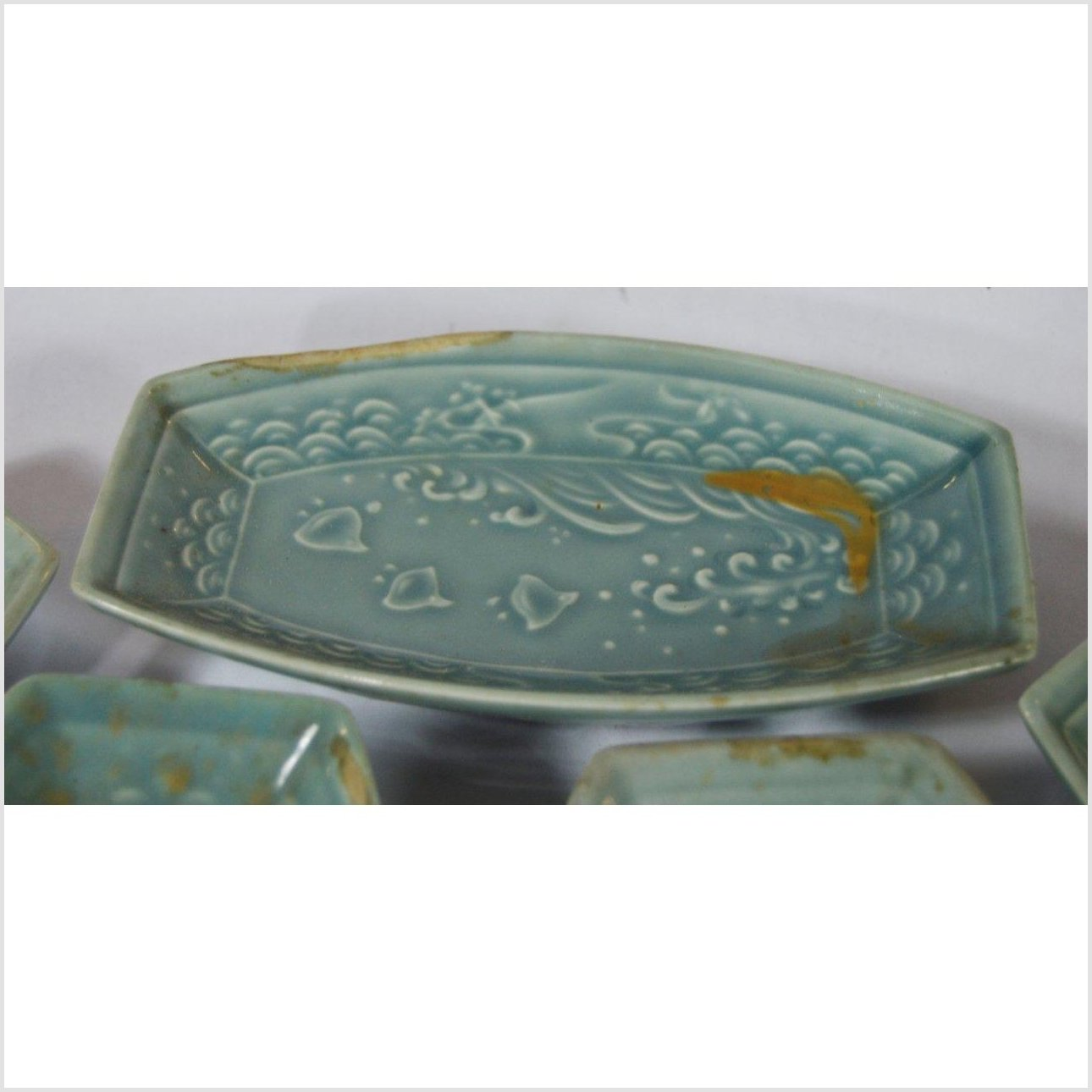 Japanese Boat Shaped Celadon Bowls