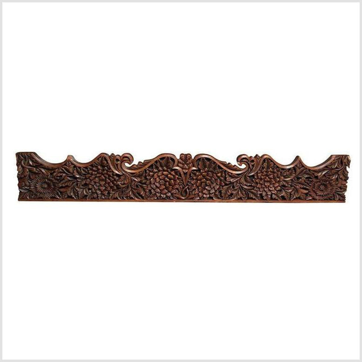 Large Carved Teak Architectural Panel With Foliage Motifs