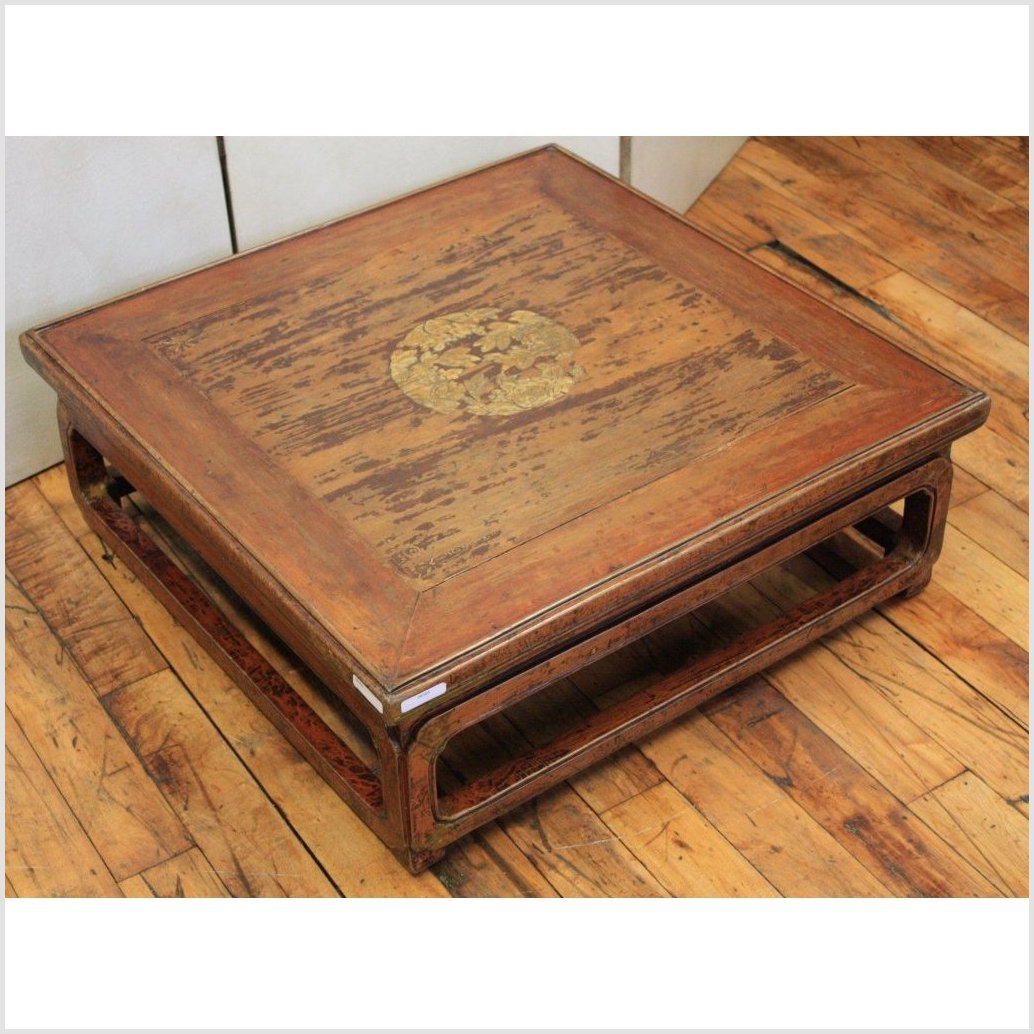 Low Square Kang Coffee Table with Gilt Decoration