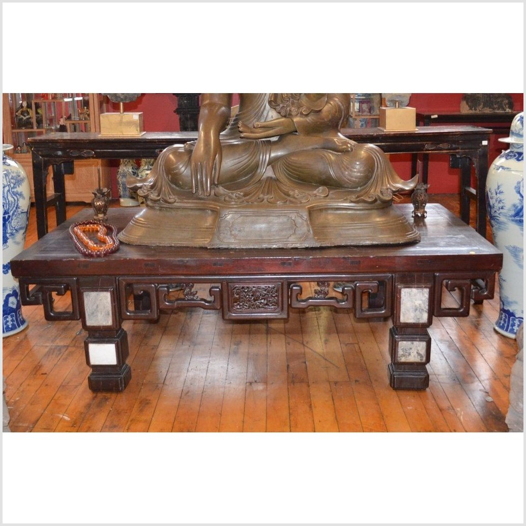Low Table with Carvings & Marble Accents