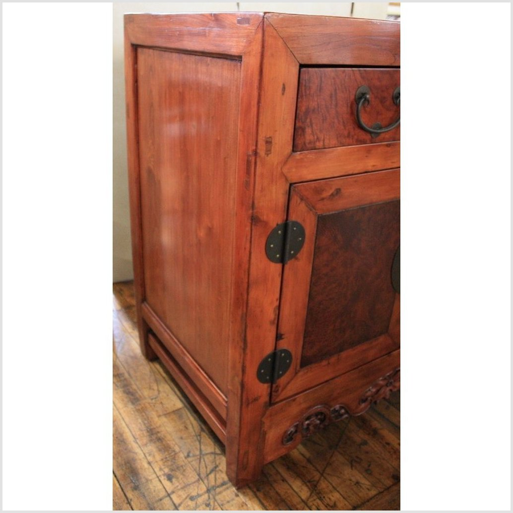 Natural Color Cabinet with Burl Wood Doors
